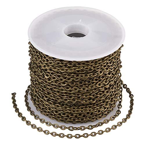 Beadthoven - Chaîne torsadée en fer - 10 m - 3 x 2,2 mm - Non soudée - Plat - Ovale - Torsadé - Avec bobine - Pour la fabrication de bijoux, bracelets, colliers - Bronze antique