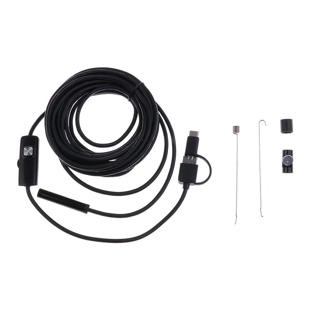 引き渡すチャンピオン背骨内視鏡カメラ 検査カメラ USBボアスコープ 防水 6LEDライト 明るさ調節可能 レンズ径:8mm Android PC用 - ブラック, 5m
