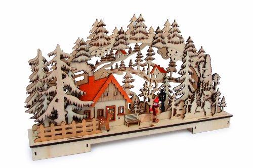 """Small Foot by Legler Lampe """"Waldlandschaft"""" aus Holz, mit vielen Details und gebrannten Verzierungen, prachtvolles Winterwunderland mit stimmungsvoller Hintergrundbeleuchtung, für das Fenster oder als Dekoration im Zimmer"""