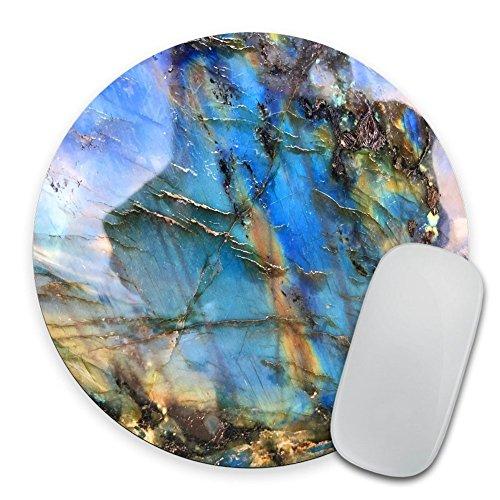 Labradorite Mouse Pad, Rainbow Moonstone Round Mousepad, Iridescent Holographic Stone Mouse Pad, Blue Flash Stone