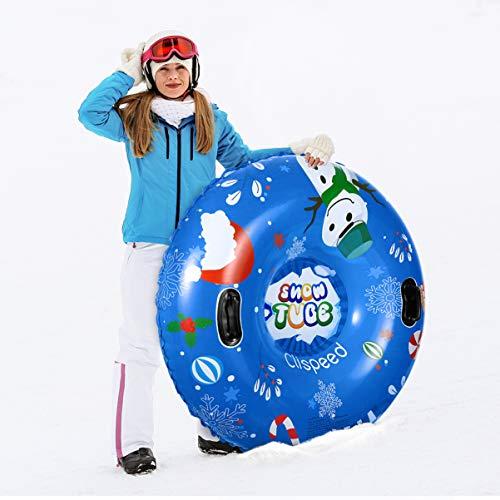 CLISPEED Aufblasbare Schlitten 47 Zoll Winter Frostschutz Schwerlast Snow Tube mit Griffen für Kinder und Erwachsene