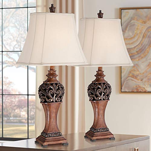 Exeter Traditional Style Table Lamps Set of 2 Bronze Wood Carved Leaf Creme Rectangular Bell Shade Decor for Living Room Bedroom House Bedside Nightstand Home Office Family - Regency Hill