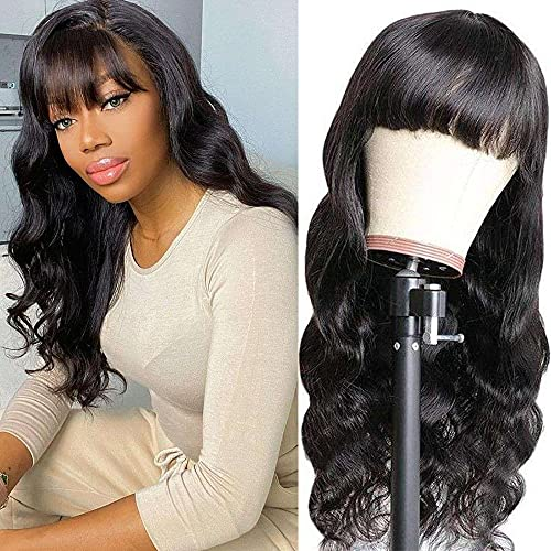 NOBLE HAIR Body Wave Human Hair Wigs with Bangs Non Lace Front Machine Made Brazilian Human Hair Wigs for Black Women (18 Inches, Black Body Wave Wig)