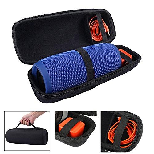 LuckyNV Opladen 3 Case, Waterdichte Opslag Draagbare Hard Case voor JBL Opladen 3 Bluetooth Draadloze Luidspreker & USB-kabel en oplader, Zwart