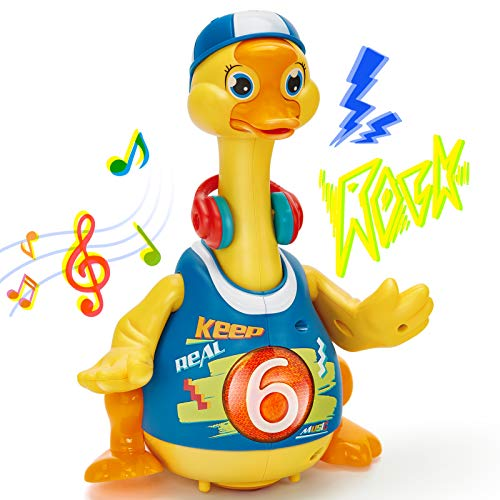 Juguetes Bebes 1 año Bailando Caminando Pato Hip Hop con Luz y Sonido, Juguetes Interactivos Musicales Educativo Temprano Juguetes Niños 2 3 años Regalo de Cumpleaños para Niños Niñas