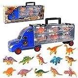 Sanlebi Dinosauri Macchinine Giocattolo - Camion Car con 12 Realistico Dinosauri Giocattolo Animali Plastica Giocattoli Educativi Gioco Dinosauri per Bambini(Blu)