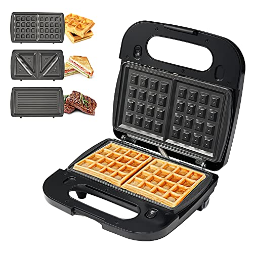 Breakfast Sandwich Maker, Waffle Maker, Electric Grill, 3 in 1 Detachable Non-stick Coating, Easy to Storage and Clean, LED Indicator Lights, Anti-Skid Feet