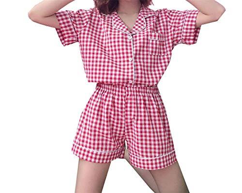 Pyjama-Set Damen Kariert Negligee Kurzarm Taschen Mit Einreihig Jungen Chic Revers High Waist Boxershort Schlafanzüge (Color : Rot 2, Size : L)
