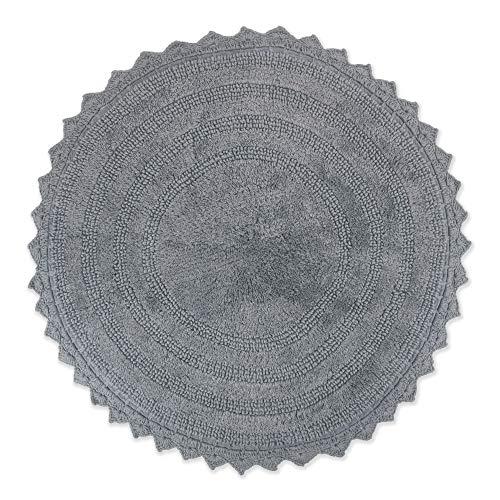 DII Crochet Collection Badematte, wendbar, rund, 69,8 cm Durchmesser, Grau
