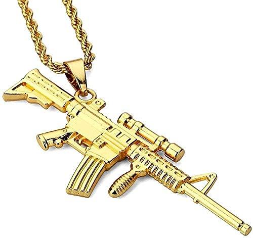 NC122 Hombres y Mujeres Collar Colgante Regalos Joyería Rifle de Francotirador Tarjeta de Marea Hip Hop Chapado en Acero de Titanio de 18 K