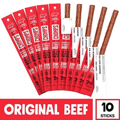 CHOMPS Grass Fed Beef Jerky Meat Snack Sticks, Keto, Whole30 Approved, Paleo, Low Carb, High Protein, Gluten & Sugar Free, Non-GMO, 90 Calories 1.15 Oz, Original Beef 10 Pack - Packaging May Vary