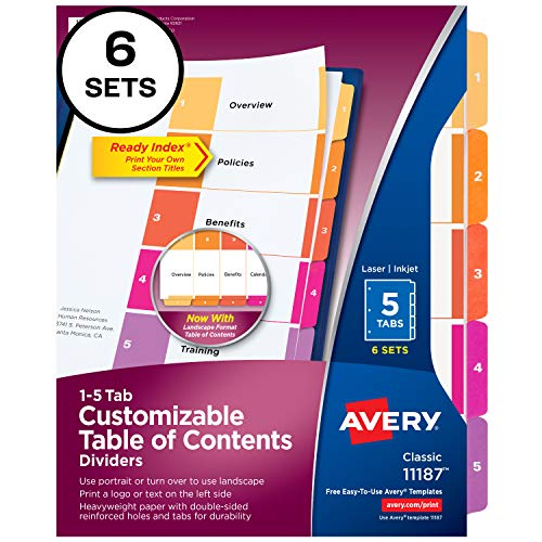 Avery 5-Tab Dividers for 3 Ring Binders, Customizable Table of Contents, Multicolor Tabs, 6 Sets (11187)