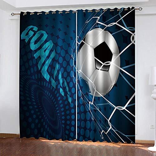 LOVEXOO Blickdicht Ösen Gardinen Fußball & Sport Vorhang Blickdicht, Schlaufen Verdunkelungsgardinen,Kälte- und Wärmeisolierung.mit für Wohnzimmer Schlafzimmer 2er Set 140Bx H245cm