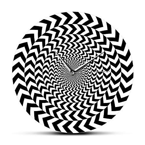 Cwanmh Wanduhr Spirale Geometrie optische Täuschung Moderne Wanduhr Hypnose Schwarzweiß 3D visuelle Wanduhr Silent Sweep abstrakte Wandmalerei 30 x 30 c
