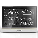 Mutli-funktions Design ▶ : WS004E wetterstation mit komfortable Kabellos-Übertragung (Wireless) / Ausstattungsmerkmale: DCF-Signal | 12/24-Stundenanzeige | Datumsanzeige | Alarm-Funktion (Wecker) | Innen- und Außentemperatur | Außensensor | Temperatu...