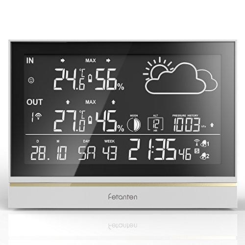 Fetanten WS004E Funk Wetterstation mit Außensensor, 3CHs Aussensensor Wetterstation mit 7,5'' LCD Display für Heim Temperatur Hygrometer Thermometer Überwachung
