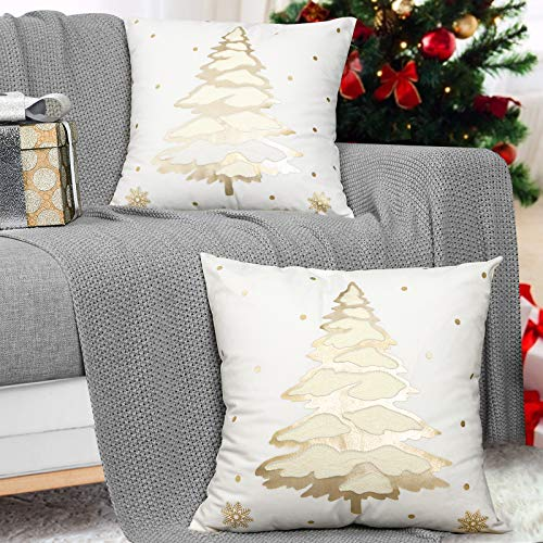 MoKo Pack of 2 Throw Pillow Cover, Soft Square Pillow Cases Foil Hot-Stamped Snowflakes Christmas Decorative Cushion Covers for Sofa Couch Bed Home Car Decoration, 18' x 18', 45 x 45 cm, Gold