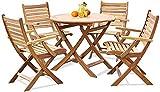 Mesa y sillas de Madera Maciza anticorrosiva de Teca Ocio, balcón al Aire Libre, Bar, Muebles de jardín, 1 Mesa + 4 sillas