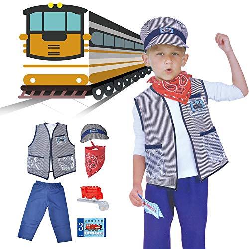 Yunt-11 Train Captain Costume Boys, Train Captain Role Play Costume Set (Chaqueta, pantalón, Silbato, horario de Trenes, Gorro y Bufanda), 3-8 años
