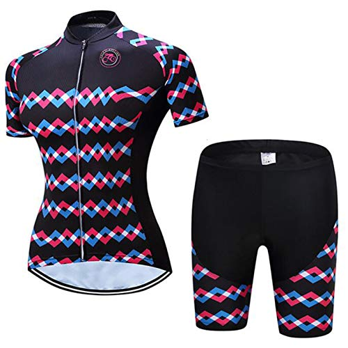 QWA Mujeres Conjunto de Jersey de Ciclismo, Ropa de Bicicleta de Montaña Colocar Cremallera Completa Respirable Secado Rápido Camisa + Baberos de Ciclismo con 20D Acolchado