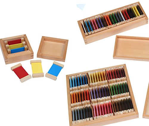 Montessori Farbtäfelchen, Kästen I, II und III, Montessori-Material zur Farbenlehre