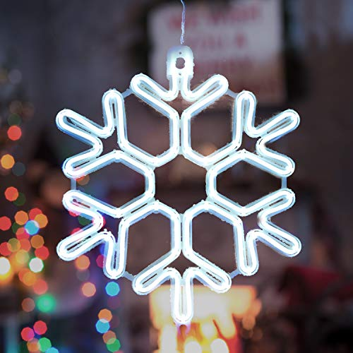 SALCAR Luz de neón de copo de nieve, luz decorativa LED de...