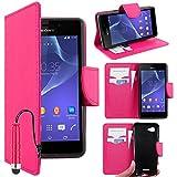 ebestStar - kompatibel mit Sony Xperia E3 Hülle D2203 Kunstleder Wallet Case Handyhülle [PU Leder], Kartenfächern, Standfunktion + Mini Stift, Pink [Phone: 146 x 72 x 7.3mm, 5.2'']