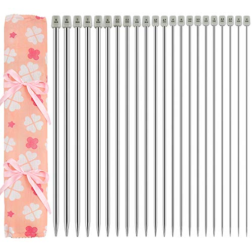 Hysagtek - Juego de 22 agujas de tejer de acero inoxidable con una sola punta de 35,5 cm, con bolsa de almacenamiento, varios tamaños de 2,0 a 8,0 mm (11 pares, 11 tamaños)