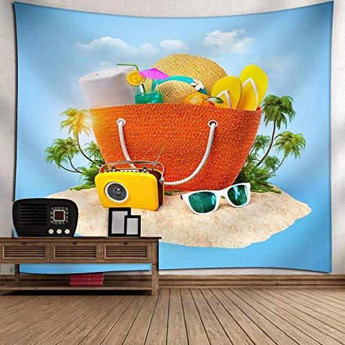 Hippie Psychedelic, grote rechthoekige bedrukte stof tapijten, 3D-bedrukte mooie landschapsstrandtas, hoed, Indian Art print wandschilderij, voor slaapkamer, woonkamer, woonhuis 150X100cm zoals getoond