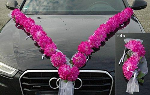 Autoschmuck - Ghirlanda di dalie artificiali, decorazione per auto per matrimonio