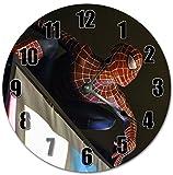 The Amazing Spiderman Horloge murale en bois silencieuse moderne pour...