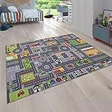 Paco Home Alfombra Infantil De Juegos Habitación Infantil Diseño De Carreteras Gris, tamaño:140x200 cm