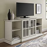 Walker Edison Traditional Wood Universal Stand with Cabinet Doors TV's up to 64' Flat Screen Living Room Storage Entertainment Center, 60 Inch, White