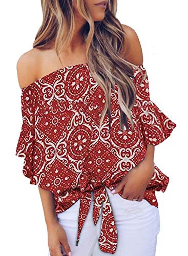 Asvivid Womens Summer Retro Floral Printed Off The Shoulder Tops 3 4 Flared Bell Sleeve Blouses Tie Knot T-Shirt Tops XL Red