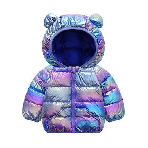 Ouduo Baby Mantel Winter Kapuzenjacke Puffer Jacken Schneeanzug Kinder Jungen Mädchen Kleidung Outfits Ultraleicht Warmer Mäntel 1-5 Jahre (Buntes Blau,110cm)