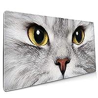 マウスパッド 大型 ペルシャ猫 目 不機嫌 ネコ 見るゲーミング デスクマット かわいい 防水性 耐久性 滑り止め 多機能 超大判 40cm×90cm おしゃれ
