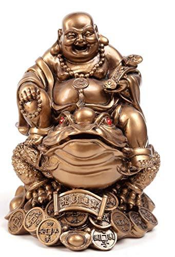 QND,Escultura,Escultura de Estatua de Buda y Tortuga de Buda, Estatua de Arte Moderno de Resina, decoración de Feng Shui para el hogar, Buda riendo Sapo, 2, M