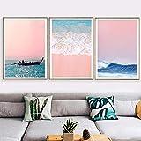 VVSUN Pink Seascape Wall Art Canvas Painting Sea View Póster nórdico Posters Impresiones Imágenes de la Pared Junto al mar para la decoración del hogar de la Sala de Estar, 50x70cmx3Pcs (sin Marco)