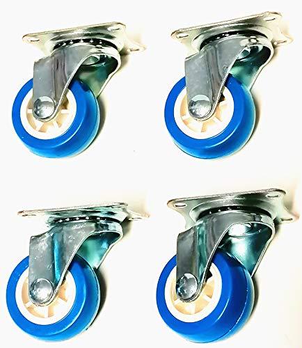 Herran Set 4 Pezzi Ruota 40 mm Per Mobile con Piastra di Assemblaggio, con rotazione di 360 gradi -Colore: Azzurro