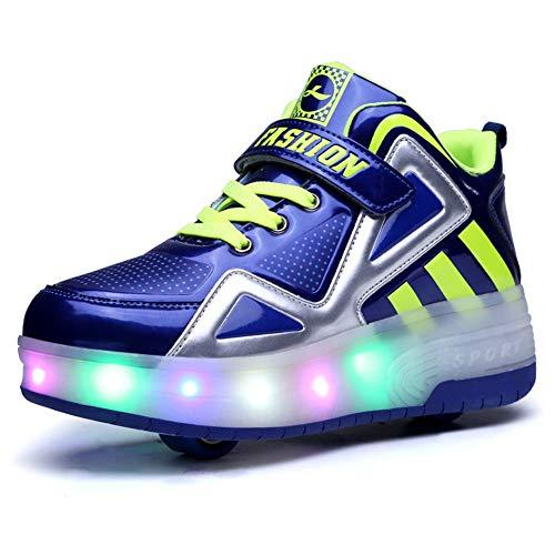 Bruce Wang Unisex-Kinder LED Licht Auf Einzelne Doppelrad Roller Schuhe Outdoor Sports Training Skate Turnschuhe Retractable Technical Skateboarding Laufsportschuhe (33 EU, Blau 8085)