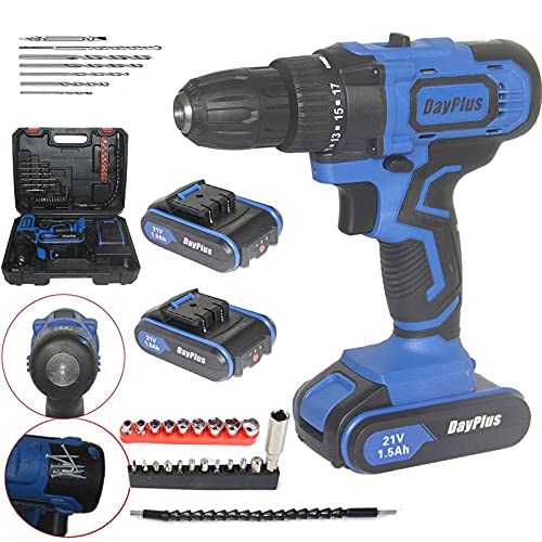 21V Cordless Combi Drill with 2 Piece 1500mAh Lithium-Ion Batteries, Electric Screwdriver with Tail Manual Hammer and Magnet Function, 2 Speed, Forward and Reverse Setting, LED Light, 29pc Kit