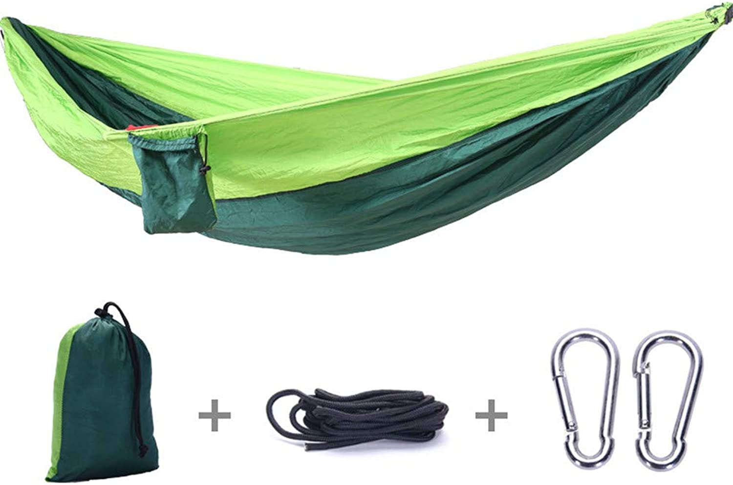 Hammock Camping Double & Single with Tree Straps Indoor Outdoor Backpacking Survival & Travel Portable(270  140 cm),Green