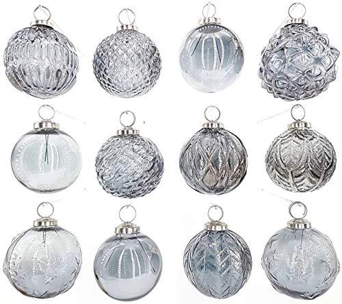 My-goodbuy24 Premium Weihnachtskugeln 12-teiliges Set Echtglas Glaskugeln Weihnachten Weihnachtsdeko Tannenbaumkugeln Glas Christbaumkugeln Weihnachtsbaum (I214)