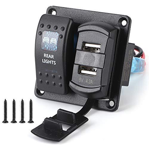 Panel de interruptores basculantes 2Gang 2 USB con voltímetro digital Interruptor de luz dual de 5 pines para vehículos recreativos, barcos, vehículos, camión