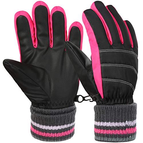 Vbiger Kinder Skihandschuhe Warme Winter Handschuhe Kalt Wetter Handschuhe Reißfeste Outdoor Sport Handschuhe mit extra langen Ärmeln Faltbare Manschette für Jungen und Mädchen, Rosa, M (8-10 Jahre)