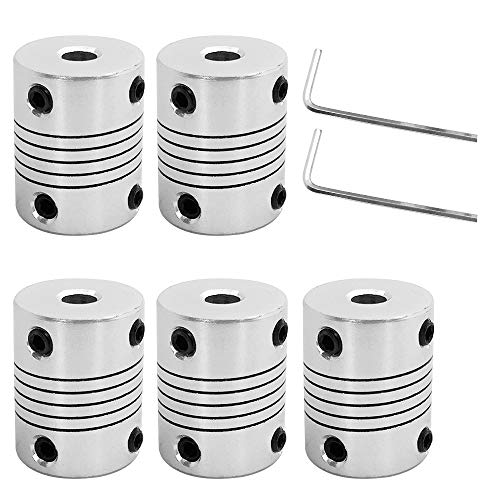 AFUNTA 5 Stück flexible Kupplungen 5 mm bis 8 mm kompatibel mit NEMA 17 Schrittmotoren, verwendet in kleinen CNC-Maschinen & 3D-Druckern Prusa i3 oder ORD Bot mit 2 Stück Inbusschlüssel.