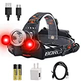 BORUiT RJ-3000 LED Headlamp with Red Light - White & Red LED Hunting Headlight -...