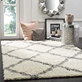 SAFAVIEH Dallas Shag Collection SGD257F Trellis Non-Shedding Living Room Bedroom Dining Room Entryway Plush 1.5-inch Thick Area Rug, 5'1' x 7'6', Ivory / Grey