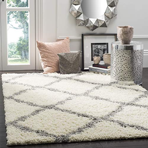 SAFAVIEH Dallas Shag Collection SGD257F Trellis Non-Shedding Living Room Bedroom Dining Room Entryway Plush 1.5-inch Thick Area Rug, 6' x 6' Square, Ivory / Grey