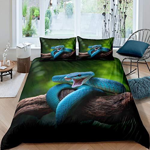 Juego de ropa de cama de doble tamaño, diseño de animales salvajes, funda de edredón tropical, funda de edredón con 2 fundas de almohada, ultra suave